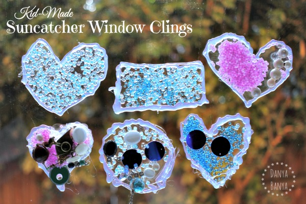 Six beautiful kid-made suncatcher window clings