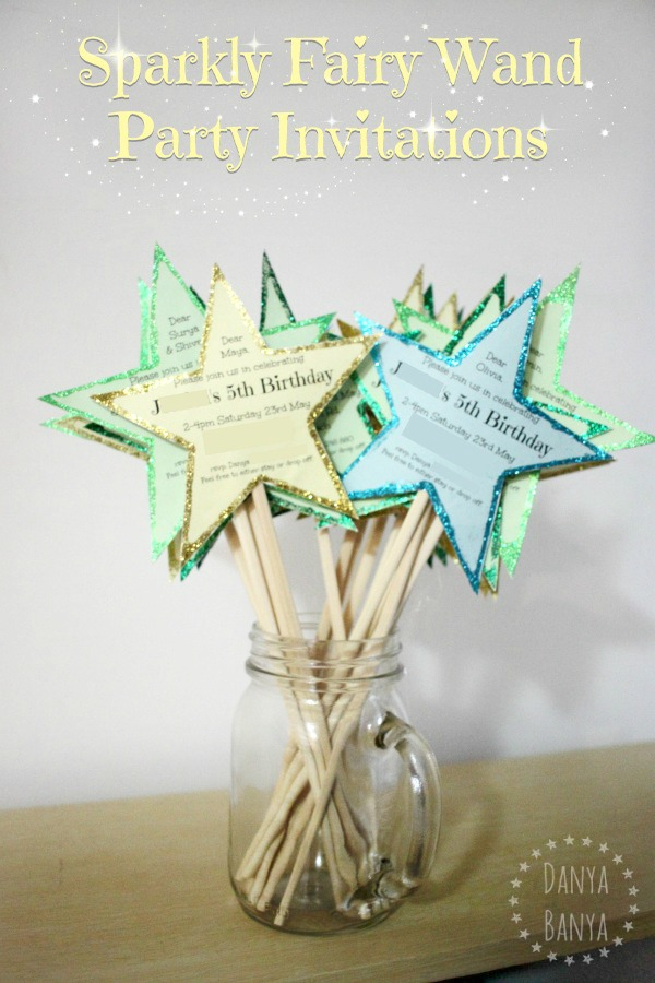 DIY Sparkly Fairy Wand Party Invitations - Danya Banya