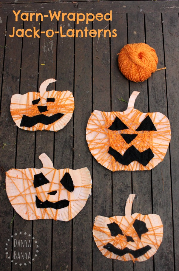 Yarn-Wrapped Jack-o-Lanterns