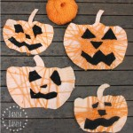 Yarn-Wrapped Paper Plate Jack-o-Lantern kids craft for Halloween