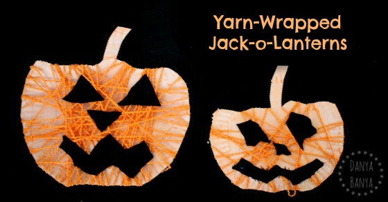 Yarn-wrapped Jack-o-Lanterns for Halloween