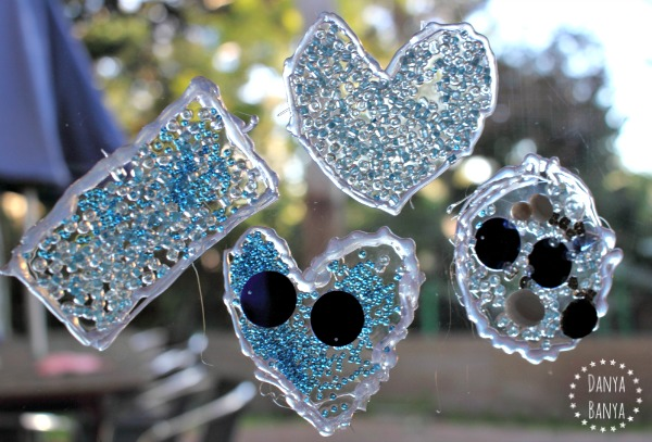 frozen ice blue suncatcher window clings