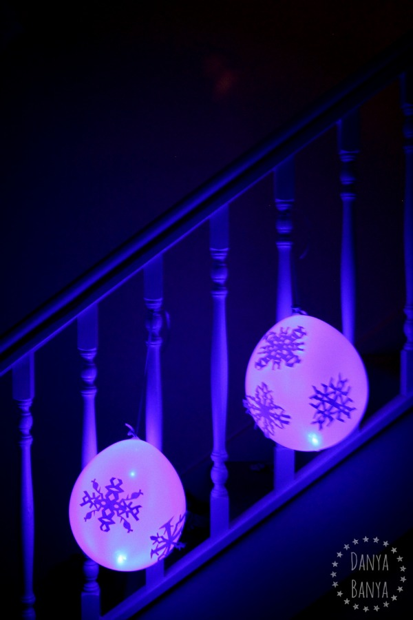 Glowing snowflake balloon decorations