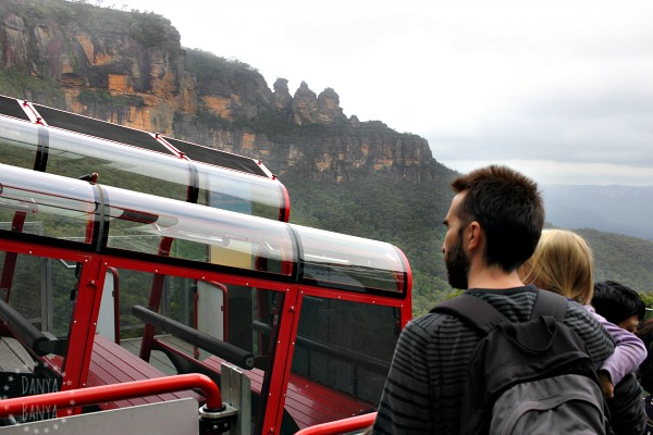 About to board the scenic railway, with view of The Three Sisters in the background