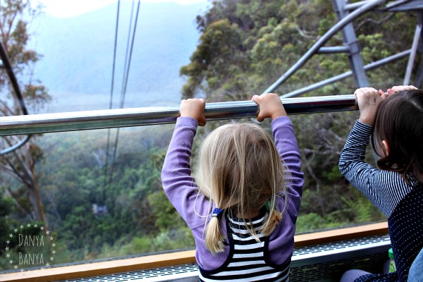 Kids view from the Scenic Cablecar - notice the BLUE mountains in the background
