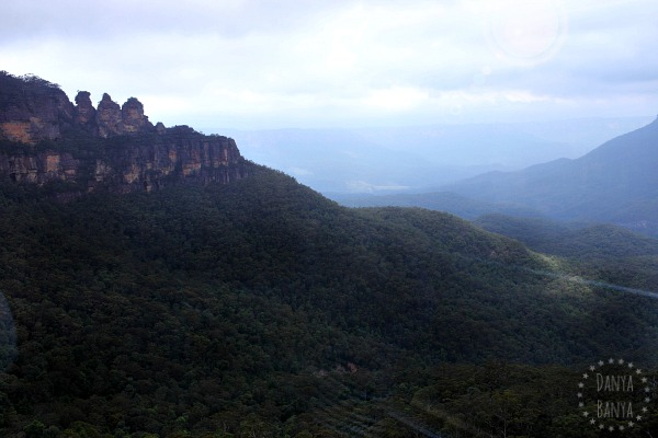 View of The Three Sisters from inside the Scenic Cableway, in Katoomba, Blue Mountains, Australia