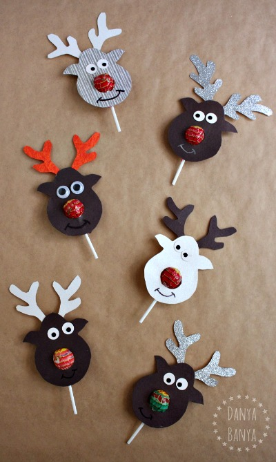 Christmas class gift idea Reindeer lollipops