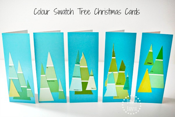Paint colour swatch Christmas tree cards that preschoolers can make
