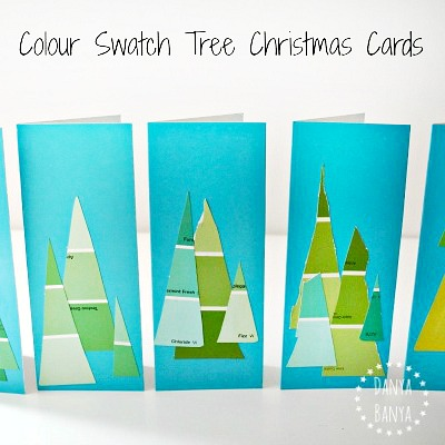 kid-made paint colour swatch tree cards for Christmas