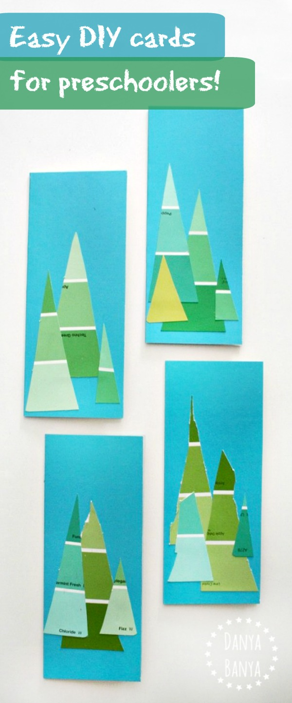 Easy DIY cards for preschoolers make fir trees using paint swatch cards great for Christmas or summer camping theme