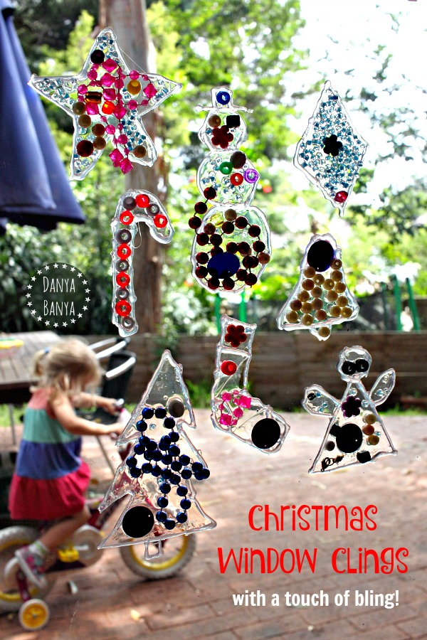 Fun kids' holiday craft idea - Christmas Window Clings (with a touch of bling)!