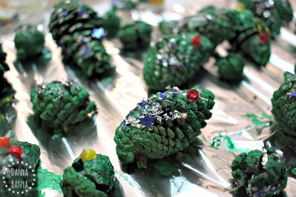 Glittery pine cone Christmas trees