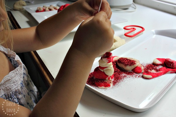 Glittery, sparkly, candy cane playdough play for kids