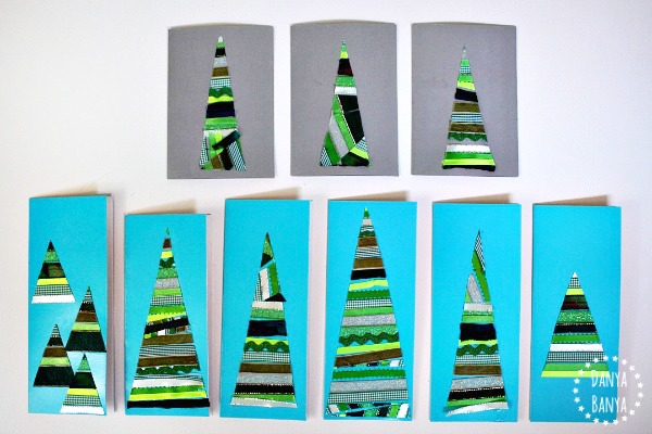 Ribbon Christmas tree card craft for kids