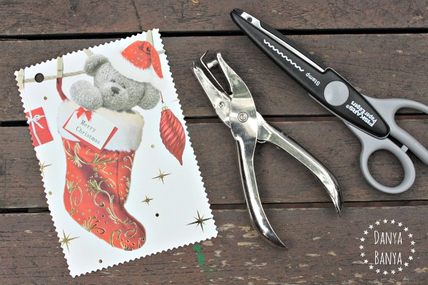 Making upcycled Christmas card gift tags