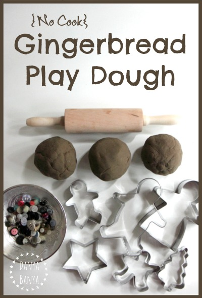 {No cook} ginger and cinnamon scented gingerbread play dough for Christmas sensory and imaginative play for kids