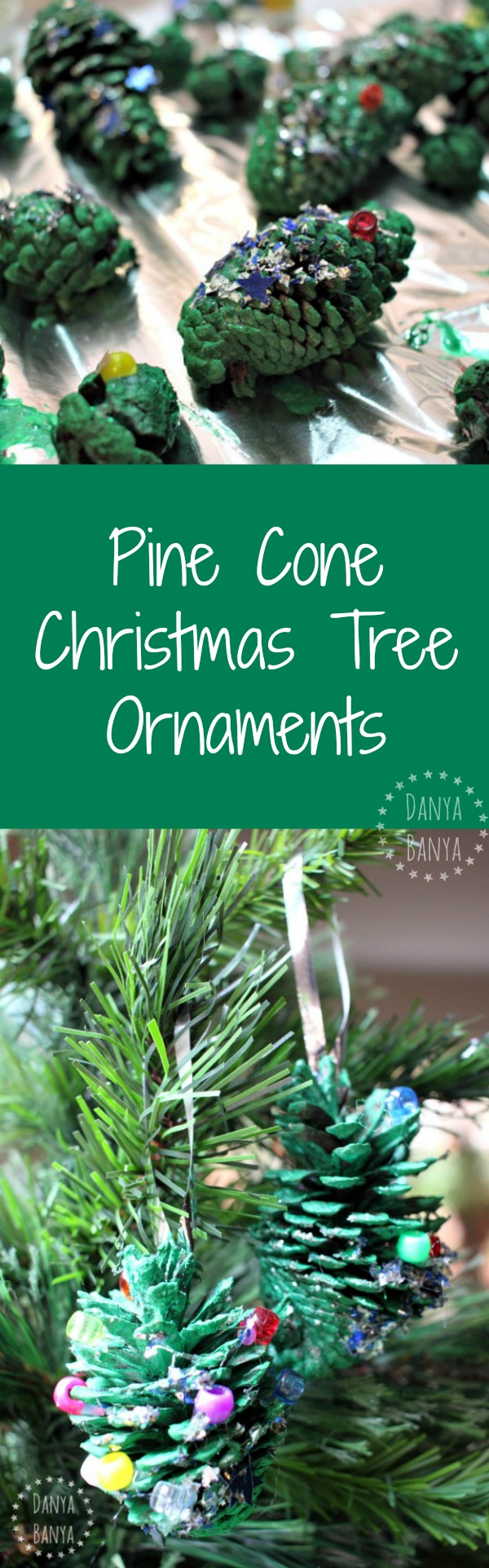 Pine Cone Christmas Tree Ornaments - these would make a great holiday craft for the kids!