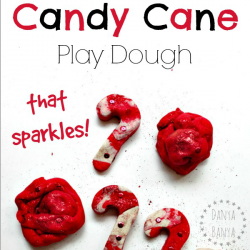Recipe for No Cook Candy Cane Play Dough that sparkles! Great for Christmas sensory play for kids