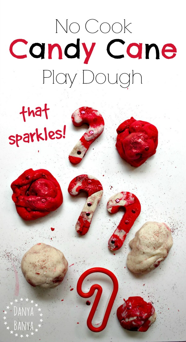 Recipe for No Cook Candy Cane Play Dough that sparkles! Great for Christmas-themed sensory play for kids