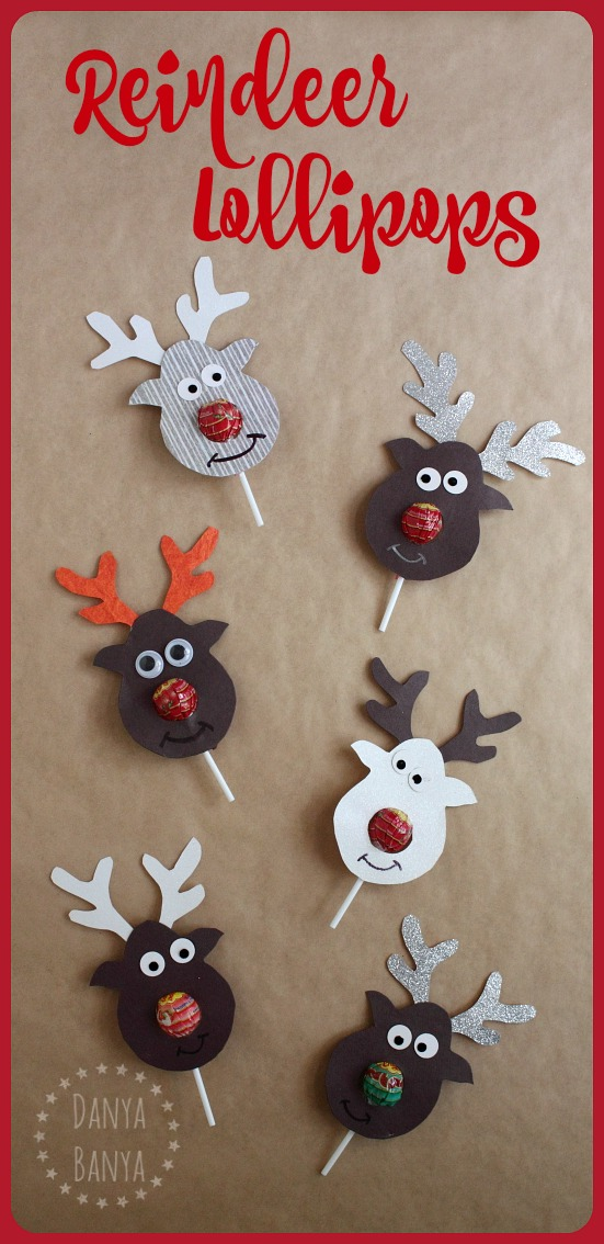 Rudolph the Red-nosed Reindeer Lollipop craft that makes a super cute kids gift for their school classmates for Christmas.