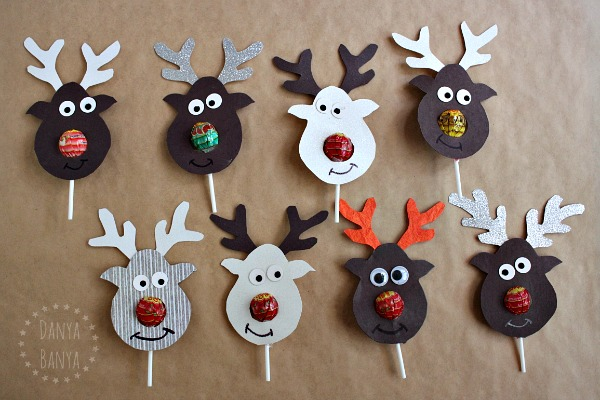Reindeer lollipop nose gifts kids can give their friends at Christmas