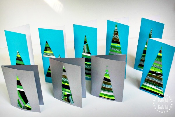 Ribbon Christmas tree cards