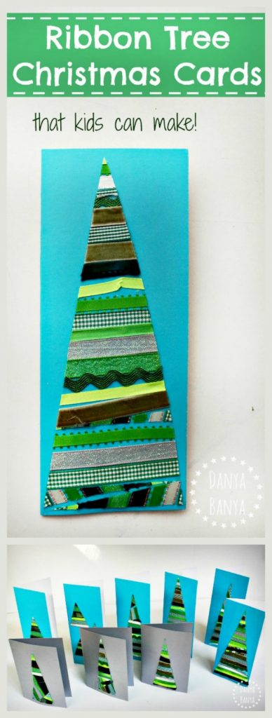 Ribbon tree Christmas cards that kids can make