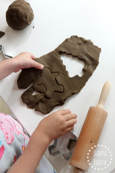 Sensory play with ginger bread play dough