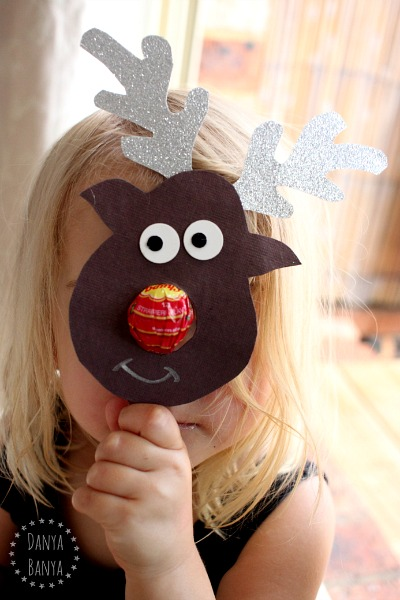 Using the Rudolph the chupa chup nosed reindeer as a mask