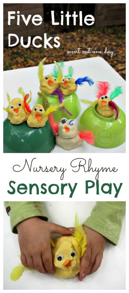Get ready to sing along! Five little ducks play dough, for nursery rhyme themed sensory and imaginative play for kids.
