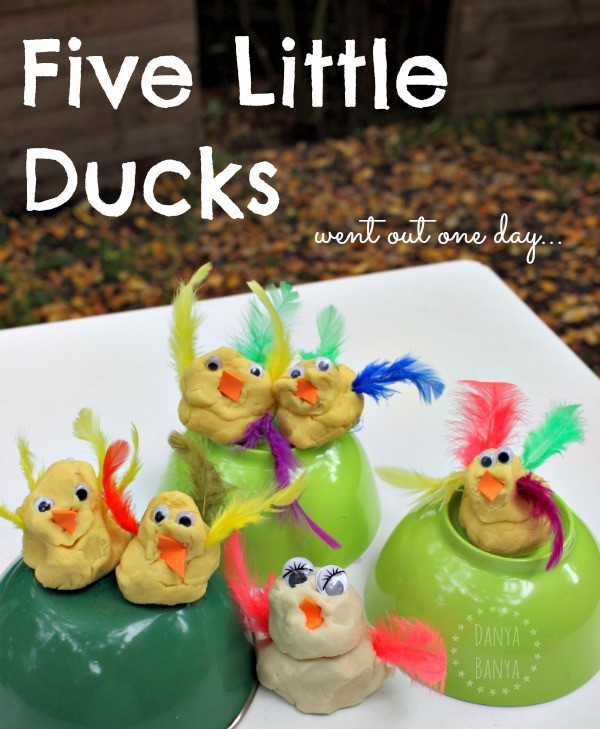 Five little ducks play dough sensory play for toddlers