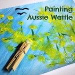 Painting Aussie Wattle (with pom poms) art for kids!