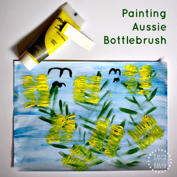 Painting Aussie bottlebrush flowers