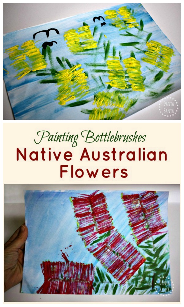 Painting bottlebrushes Australian native flower art for kids