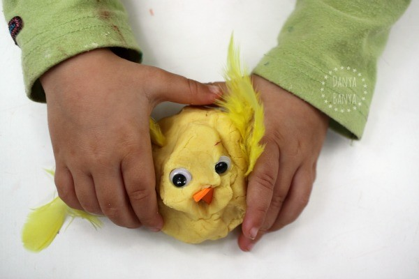 Toddler sensory play with duck play dough