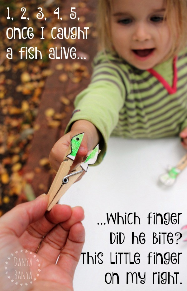 Cute little finger biting fish craft to go with the nursery rhyme 1, 2, 3, 4, 5, Once I Caught a Fish Alive