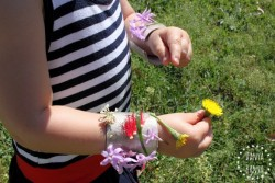 Picking flowers to stick on to DIY nature cuffs