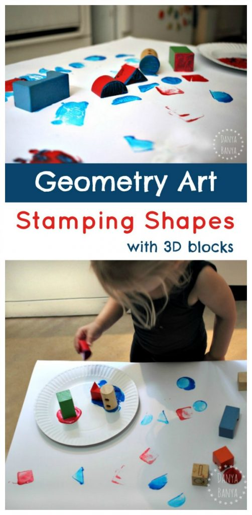 Geometry Art - stamping shapes with 3D Blocks. Hands-on math for kids.