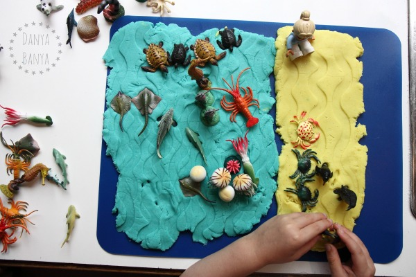 Imaginative play with ocean play dough