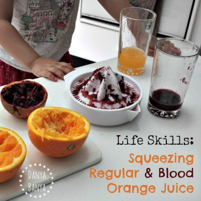 Life Skills Squeezing Regular and Blood Orange Juice