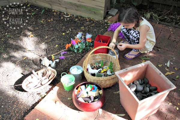 Supplies for making a fairy garden