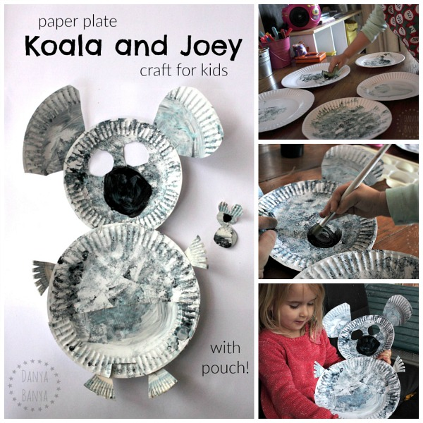 Aussie koala and joey craft for kids, made from paper plates.