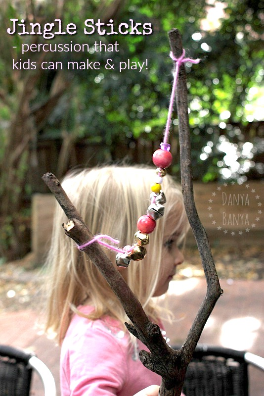 Jingle Sticks - percussion musical instruments that kids can make and play. Fun for preschoolers and up!