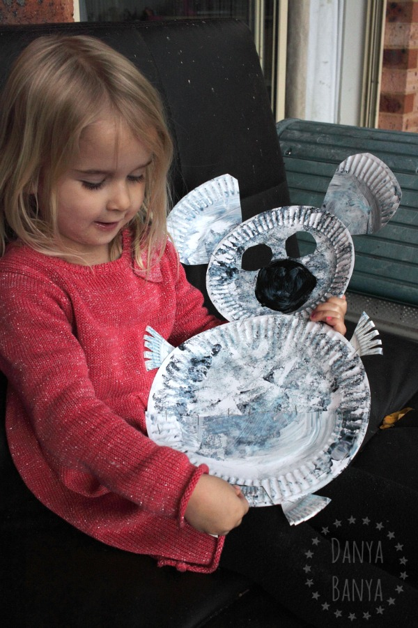 Paper plate koala craft with joey for kids