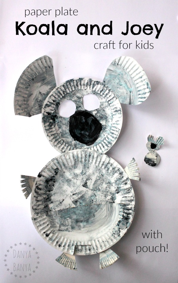 paper plate koala (with pouch) and joey craft for kids. Cute Aussie activity for Australia Day or an Australian unit, and a great way to learn about this native Australian animal..