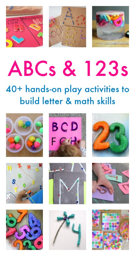 ABCs and 123s ebook, with 40+ hands-on play activities to build letter and math skills