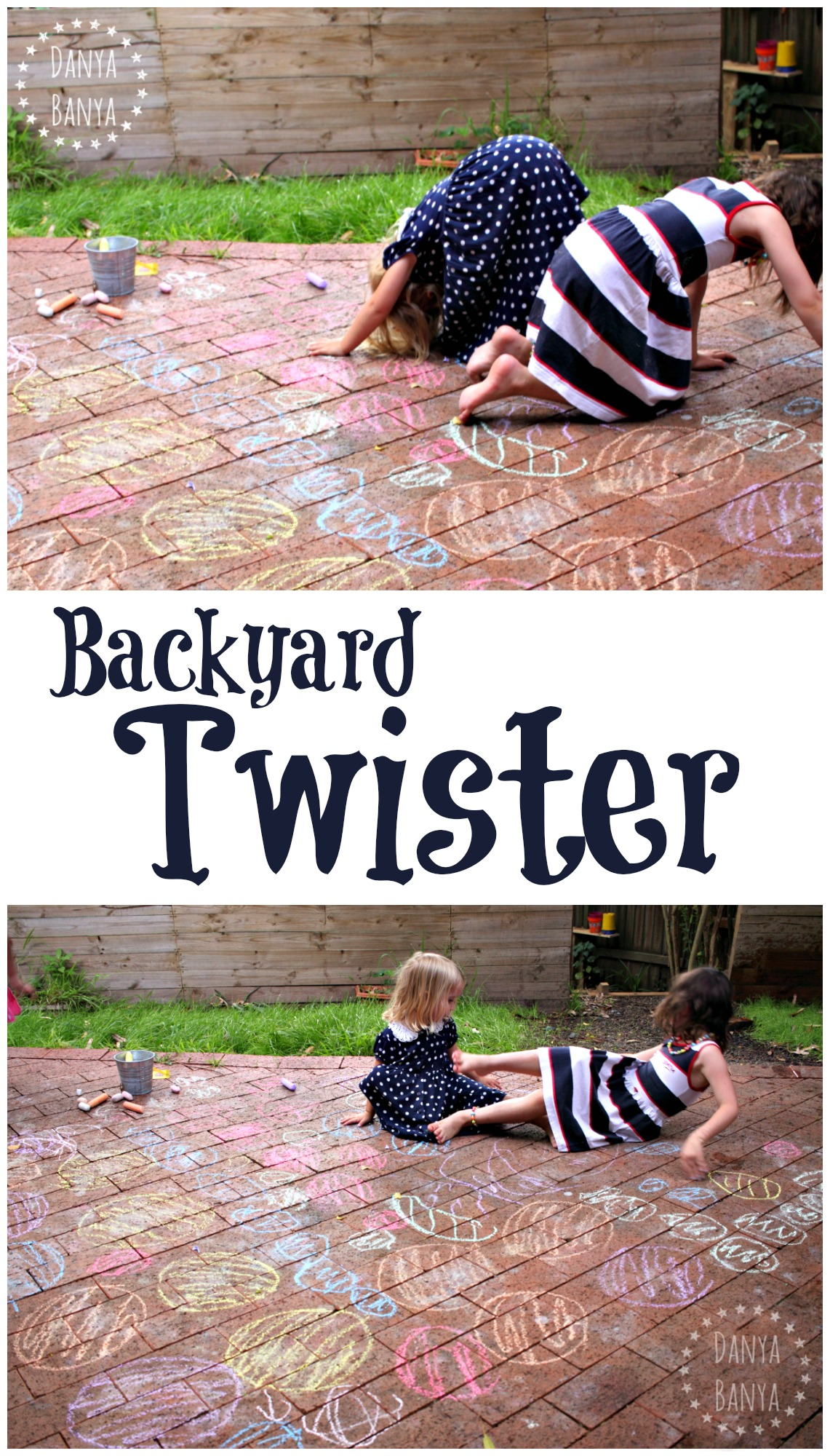 Backyard Twister with chalk! Summer gross motor fun that sneaks in some colour recognition for my preschooler.