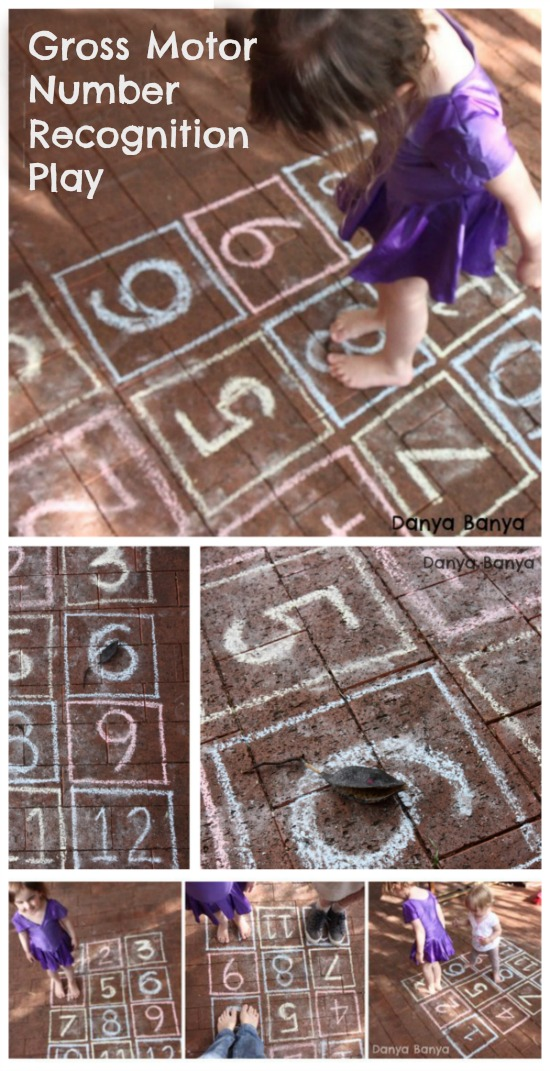 Gross Motor Number Recognition play that builds on early maths skills for kids