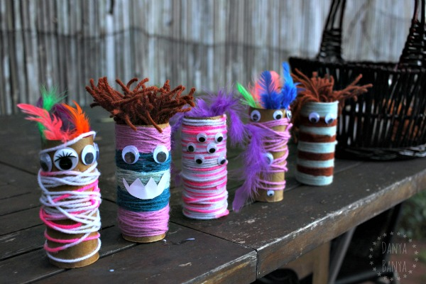 Five toilet paper roll monsters