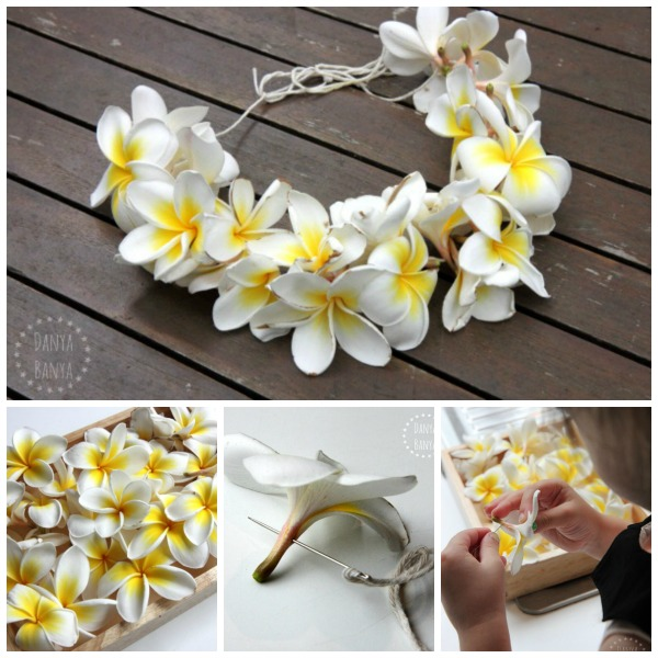 How to make a frangipani flower lei necklace - nature craft for kids